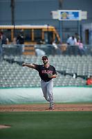 San Jose Giants third baseman David Villar (28) during a California League game against the Stockton Ports on April 9, 2019 in Stockton, California. San Jose defeated Stockton 4-3. (Zachary Lucy/Four Seam Images)