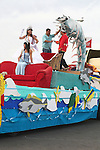 BEAUTY QUEENS ON SHRIMP FLOAT IN  ANNUAL CARNIVAL PARADE
