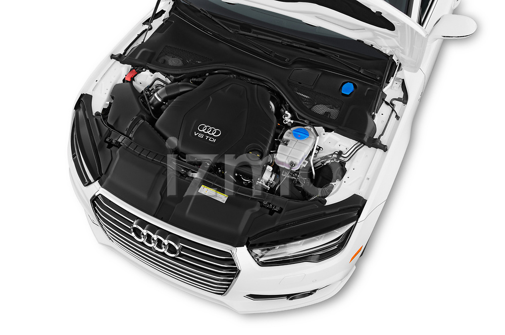 Car stock 2016 Audi A7 3.0 TDI Premium Plus  4 Door Hatchback engine high angle detail view
