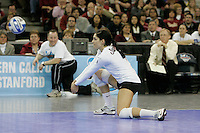 15 December 2007: Stanford Cardinal Cynthia Barboza during Stanford's 25-30, 26-30, 30-23, 30-19, 8-15 loss against the Penn State Nittany Lions in the 2007 NCAA Division I Women's Volleyball Final Four championship match at ARCO Arena in Sacramento, CA.