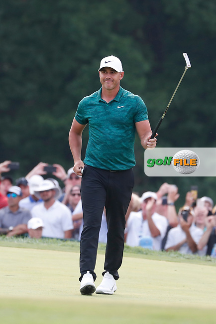Brooks Koepka (USA) reacts on the 18th green after winning the 100th PGA Championship at Bellerive Country Club, St. Louis, Missouri, USA. 8/12/2018.<br /> Picture: Golffile.ie | Brian Spurlock<br /> <br /> All photo usage must carry mandatory copyright credit (© Golffile | Brian Spurlock)