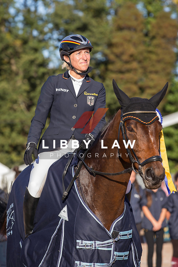 2014 TITLE WINNERS: GER-Ingrid Klimke (HORSEWARE HALE BOB) FINAL-1ST: CCI4* PRIZEGIVING: 2014 FRA-Les Etoiles de Pau (Sunday 26 October) CREDIT: Libby Law COPYRIGHT: LIBBY LAW PHOTOGRAPHY - NZL