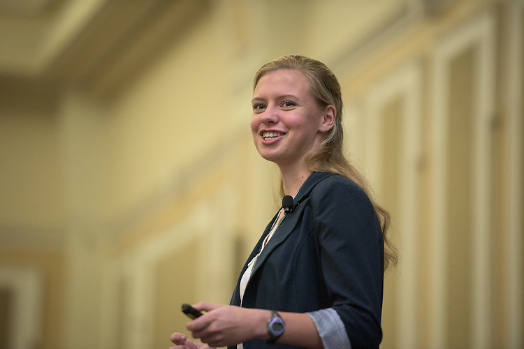 Sydney Wolff speaks during the student speaker portion of the 2016 Schey Sales Symposium held in Baker Center on November 3, 2016.