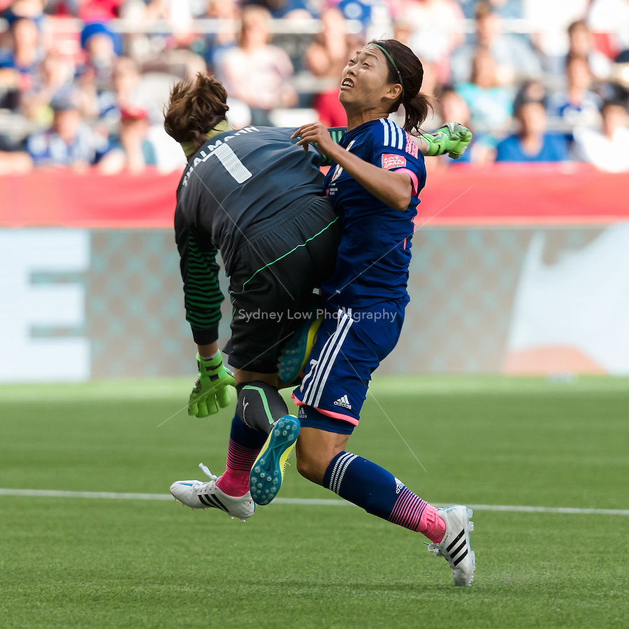 June 8, 2015: Kozue ANDO of Japan and Gaelle THALMANN of Switzerland collide during a Group C match at the FIFA Women's World Cup Canada 2015 between Japan and Switzerland at BC Place Stadium on 8 June 2015 in Vancouver, Canada. Sydney Low/AsteriskImages