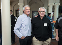 From left, Jim Mora '57 and Ron Botchen '57.<br /> Occidental College alumni, staff and other members of the Oxy community gather in support of the football program, March 10, 2018 on Branca Patio.<br /> In January 2018 a 16-member task force of trustees, faculty, students, staff and alumni met to determine the fate of the football program in the wake of the premature end of the 2017 season. The College is moving full speed ahead with preparations for the 2018 season, led by the Football Action Team.<br /> (Photo by Marc Campos, Occidental College Photographer)