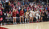 Stanford, CA - January 24, 2020: Team at Maples Pavilion. The Stanford Cardinal defeated the Colorado Buffaloes in overtime, 76-68.