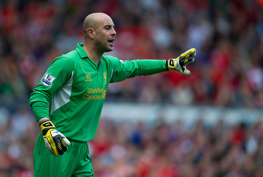 Liverpool's goalkeeper Pepe Reina .. - (Photo by Stephen White/CameraSport) - ..Football - Barclays Premiership - Liverpool v Everton - Sunday 5th May 2013 - Anfield - Liverpool..© CameraSport - 43 Linden Ave. Countesthorpe. Leicester. England. LE8 5PG - Tel: +44 (0) 116 277 4147 - admin@camerasport.com - www.camerasport.com