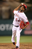 Los Angeles Angels pitcher Ervin Santana #54 pitches against the Chicago White Sox at Angel Stadium on August 23, 2011 in Anaheim,California. Los Angeles defeated Chicago 5-4.(Larry Goren/Four Seam Images)