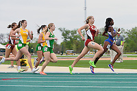 Courtney Moose pf Texas-Arlington leads first lap of 800 Meter run during Baylor Invitational track meet, Friday, April 03, 2015 in Waco, Tex. (Mo Khursheed/TFV Media via AP Images)