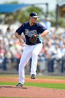 Tampa Bay Rays pitcher Jamey Wright #35 delivers a pitch during a Grapefruit League Spring Training game against the Boston Red Sox at Charlotte County Sports Park on February 25, 2013 in Port Charlotte, Florida.  Tampa Bay defeated Boston 6-3.  (Mike Janes/Four Seam Images)