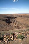 Dry desert gorge Atlas Mountains, Jebel Sarhro mountains near Tizi n Tinififft Pass, Morocco