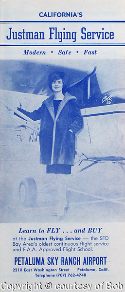 Justman Flying Service marketing brochure, Petaluma Sky Ranch Airport, Petaluma, Sonoma County, California