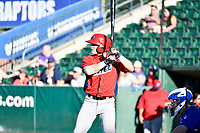 Richard Fecteau (22) of the Orem Owlz bats against the Ogden Raptors in Pioneer League action at Lindquist Field on June 22, 2017 in Ogden, Utah. The Owlz defeated the Raptors 13-8.  (Stephen Smith/Four Seam Images)