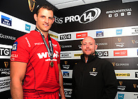 Scarlets' Aaron Shingler is presented the man of the match award from Kevin Jordan on behalf of Guinness<br /> <br /> Photographer Ashley Crowden/CameraSport<br /> <br /> Guinness Pro14 Round 6 - Ospreys v Scarlets - Saturday 7th October 2017 - Liberty Stadium - Swansea<br /> <br /> World Copyright &copy; 2017 CameraSport. All rights reserved. 43 Linden Ave. Countesthorpe. Leicester. England. LE8 5PG - Tel: +44 (0) 116 277 4147 - admin@camerasport.com - www.camerasport.com
