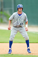 Bubba Starling (11) of the Lexington Legends takes his lead off of first base against the Kannapolis Intimidators at CMC-Northeast Stadium on July 31, 2013 in Kannapolis, North Carolina.  The Intimidators defeated the Legends 3-2.  (Brian Westerholt/Four Seam Images)