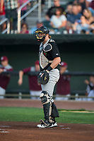 Great Falls Voyagers catcher Gunnar Troutwine (33) during a Pioneer League game against the Idaho Falls Chukars at Melaleuca Field on August 18, 2018 in Idaho Falls, Idaho. The Idaho Falls Chukars defeated the Great Falls Voyagers by a score of 6-5. (Zachary Lucy/Four Seam Images)