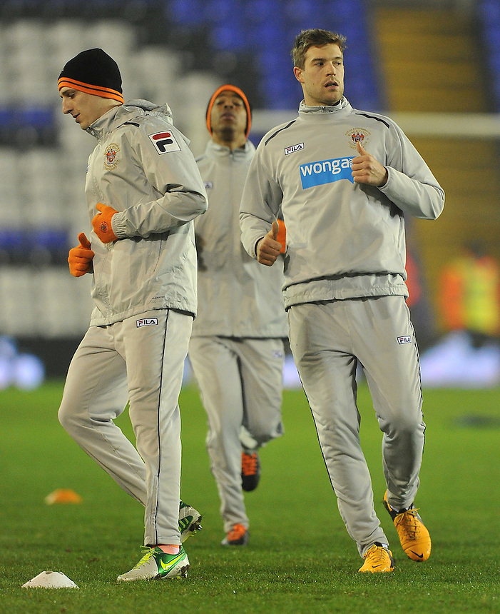 Blackpool players warm up..Football - npower Football League Championship - Birmingham City v Blackpool - Tuesday 05th March 2013 - St Andrews - Birmingham..© CameraSport - 43 Linden Ave. Countesthorpe. Leicester. England. LE8 5PG - Tel: +44 (0) 116 277 4147 - admin@camerasport.com - www.camerasport.com