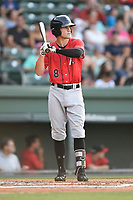 Second baseman Zach Remillard (8) of the Kannapolis Intimidators bats in a game against the Greenville Drive on Wednesday, July 12, 2017, at Fluor Field at the West End in Greenville, South Carolina. Greenville won, 12-2. (Tom Priddy/Four Seam Images)