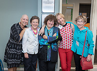 From left, Betsy Hanger, Nan Elliot, Mandy Boesche, Elaine Constanz and Cindy Hollis.<br /> Friends, family, alumni, students, faculty and staff gather in Johnson Hall classroom 303 for the dedication of The Roger Boesche Classroom on Oct. 21, 2018. The dedication included a ribbon cutting. The gathering then went downstairs to the McKinnon Center for Global Affairs to watch a video of daughter Kelsey Boesche and to listen to remarks.<br /> Longtime Occidental College politics professor Roger Boesche, revered by generations of Oxy students and credited by President Barack Obama '83 for sparking his interest in politics, passed away on May 23, 2017.<br /> (Photo by Marc Campos, Occidental College Photographer)