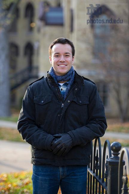 Nov. 18, 2013; Student, Zach Hargis - Development Winter Appeal Portraits. Photo by Barbara Johnston/University of Notre Dame