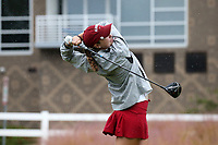 CHAPEL HILL, NC - OCTOBER 13: Polly Mack of the University of Alabama tees off at UNC Finley Golf Course on October 13, 2019 in Chapel Hill, North Carolina.