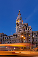 City Hall at dusk, Philadelphia, Pennsylvania, USA