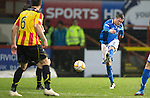 Partick Thistle v St Johnstone....21.01.14   SPFL<br /> Chris Millar's shot is saved by Gallacher<br /> Picture by Graeme Hart.<br /> Copyright Perthshire Picture Agency<br /> Tel: 01738 623350  Mobile: 07990 594431