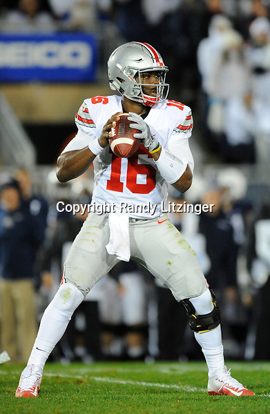 22 October 2016:  Ohio State QB J.T. Barrett (16). The Penn State Nittany Lions upset the #2 ranked Ohio State Buckeyes 24-21 at Beaver Stadium in State College, PA. (Photo by Randy Litzinger/Icon Sportswire)
