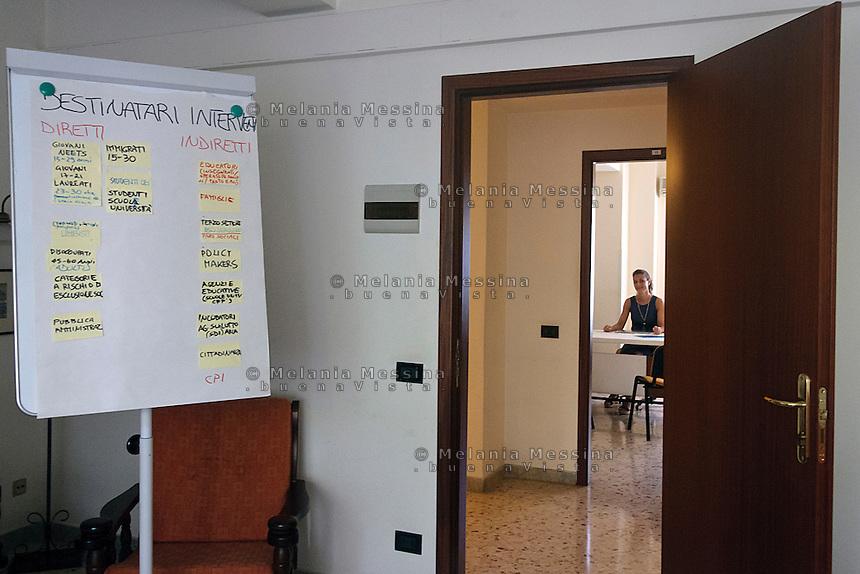 Locali del centro Arrupe, nello sfondo la staza della direttrice Nicoletta Purpura.<br /> Palermo, institute of Political Education of the Jesuits &quot;Pedro Arrupe&rdquo;: in the background Nicoletta Purpura