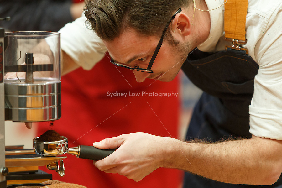 MELBOURNE, 25 May: Nick CLARK from New Zealand competing in the semifinals and winning a spot in the final 6 competitors of the 2013 World Barista Championship at the Melbourne Show Grounds in Melbourne, Australia. The national champions of Australia, Italy, Ireland, New Zealand, United States and El Salvador made the final after 3 days of competition with the national barista champions of 52 countries.. Photo Sydney Low / syd-low.com