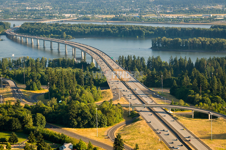 Aerial view of interstate 205 in Washington looking south into Portland, Oregon.