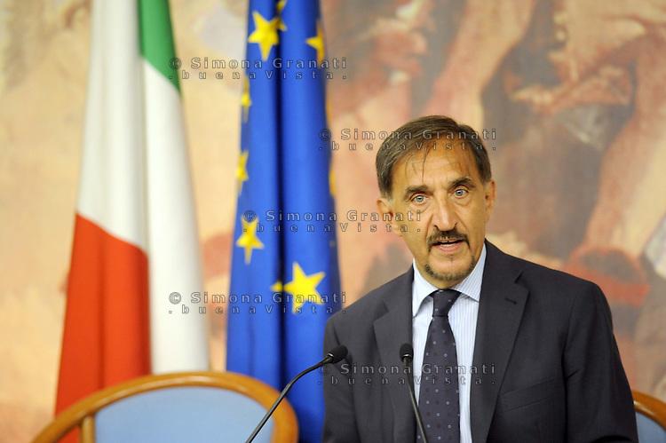 Roma, 1 Settembre 2011.Palazzo Chigi.Conferenza Stampa di Ignazio La Russa ministro della difesa