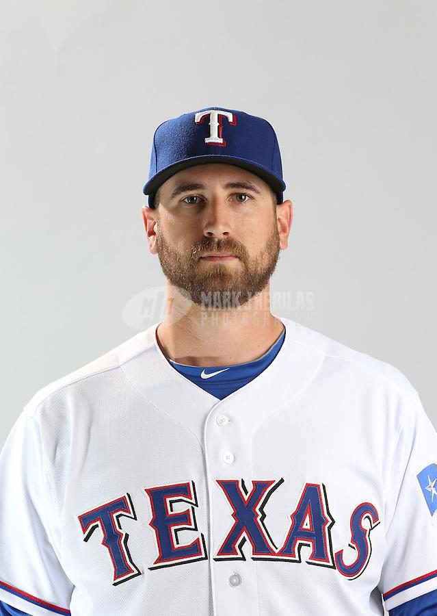 Feb. 20, 2013; Surprise, AZ, USA: Texas Rangers pitcher Michael Kirkman poses for a portrait during photo day at Surprise Stadium. Mandatory Credit: Mark J. Rebilas-