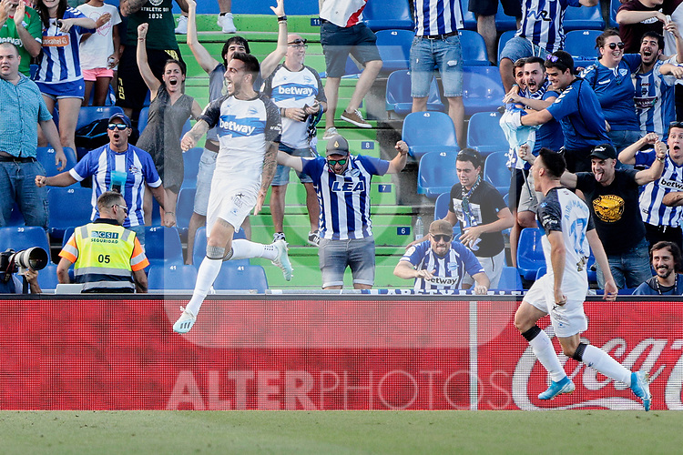 Jose Luis Mato 'Joselu' Deportivo Alaves celebrates goal during La Liga match between Getafe CF and Deportivo Alaves at Colisseum Alfonso Perez in Getafe, Spain. August 31, 2019. (ALTERPHOTOS/A. Perez Meca)