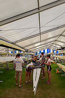 """Henley on Thames, United Kingdom, 29th June 2018, Friday, """"Henley Royal Regatta"""", Qualifying races, [Time Trails] Crews Relax, """"rig and prepare, their boat, before they race, over the, Regatta Course, Henley Reach, River Thames, Thames Valley, England, © Peter SPURRIER, 29/06/2018"""