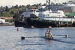 Rowing, Seattle, Seattle Rowing Center, rowing schools, middle school, high school rowers in racing shells, rowers, workout, Lake Washington Ship Canal,