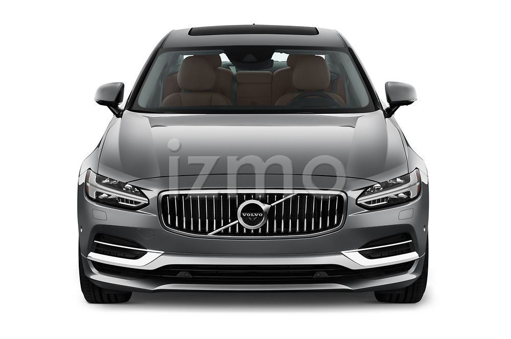 Car photography straight front view of a 2019 Volvo S90 Inscription PHEV T8 AWD 4 Door Sedan