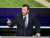 Brock Mealer of Wauseon, Ohio makes remarks at the 2016 Republican National Convention held at the Quicken Loans Arena in Cleveland, Ohio on Thursday, July 21, 2016.<br /> Credit: Ron Sachs / CNP<br /> (RESTRICTION: NO New York or New Jersey Newspapers or newspapers within a 75 mile radius of New York City)