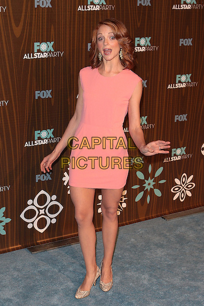 JAYMA MAYS.Fox Winter All Star  Party held at Villa Sorisso, Pasadena, California, USA..January 11th, 2009.full length pink coral sleeveless dress hands mouth open funny beige snakeskin shoes.CAP/ADM/TC.©T. Conrad/AdMedia/Capital Pictures.