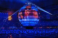 La raffigurazione del mondo con all'interno una nuotatrice<br /> Pechino - Beijing 8/8/2008 Olimpiadi 2008 Olympic Games<br /> The Opening ceremony for the XXIX Olympic games.<br /> Cerimonia d'apertura delle Olimpiadi di Pechino 2008<br /> Foto Andrea Staccioli Insidefoto