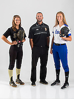 NWA Democrat-Gazette/JASON IVESTER<br /> Bentonville's Maddy Prough (from left) (player of the year), Bentonville's Kent Early (coach of the year) and Rogers' Alex McManus (newcomer of the year); photographed on Monday, May 23, 2016, in the Springdale studio