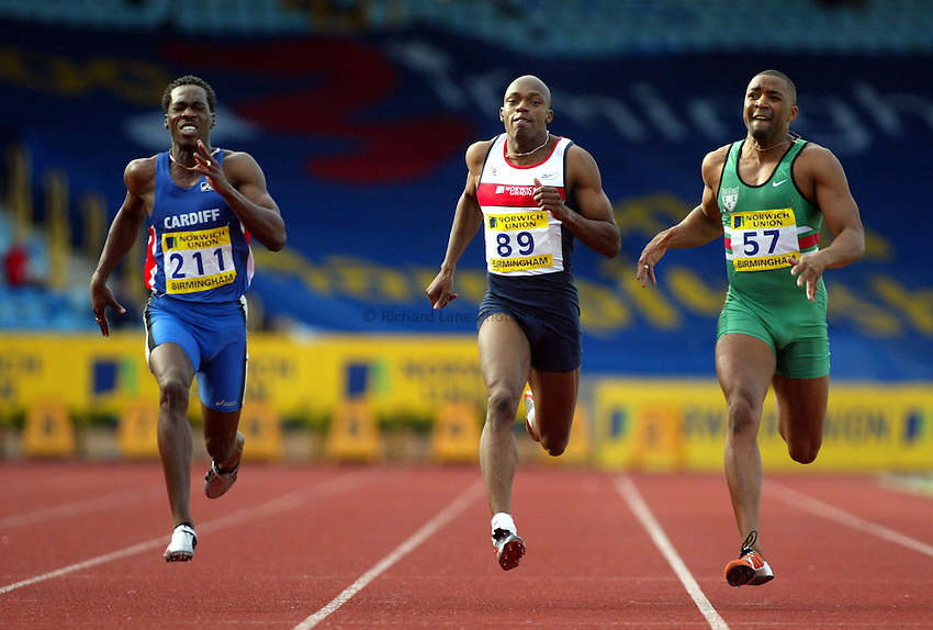 Photograph: Scott Heavey..Norwich Union World Trials & AAA Championships from The Alexander Stadium in Birmingham. 27/07/2003..( L to R) Christian Malcolm, Marlon Devonish and Darren Campbell