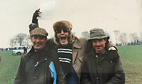 BNPS.co.uk (01202 558833)<br /> Pic: BNPS<br /> <br />  Flamboyant John McCririck (centre)<br /> <br /> The widow of the late racing pundit John McCririck is selling off his wardrobe of clothes and jewellery.<br /> <br /> The TV personality was known for wearing deerstalker hats, flamboyant suits and oversized gold rings as he delivered the betting news at the races on Channel 4 for years.<br /> <br /> He did July aged 79 and now his widow Jenny has decided to put some of his possessions up for sale.<br /> <br /> She said part of the reason was that she was worried thieves would target her because of the jewellery that her husband was famous for wearing.