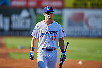 James Outman (47) of the Ogden Raptors before the game against the Grand Junction Rockies at Lindquist Field on June 25, 2018 in Ogden, Utah. The Raptors defeated the Rockies 5-3. (Stephen Smith/Four Seam Images)