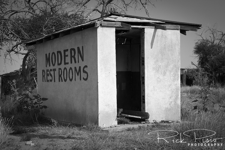 Modern rest rooms at the Endee Rest Area along an abandoned alignment of Route 66 in eastern New Mexico.