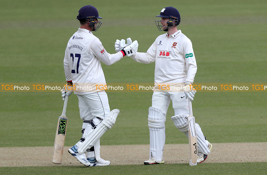 Ryan ten Doeschate (left) and Robbie White of Essex celebrate a hundred run partnership during Surrey CCC vs Essex CCC, Specsavers County Championship Division 1 Cricket at the Kia Oval on 13th April 2019