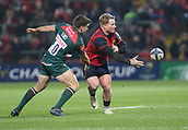 9th December 2017, Thomond Park, Limerick, Ireland; European Rugby Champions Cup, Munster versus Leicester Tigers; Chris Cloete, Munster, hands off the ball to a team mate