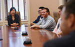 College of Liberal Arts Dean Lee Cohen meets with students participating in the Chinese Flagship Program's Capstone next year. Photo by Thomas Graning/Ole Miss Communications
