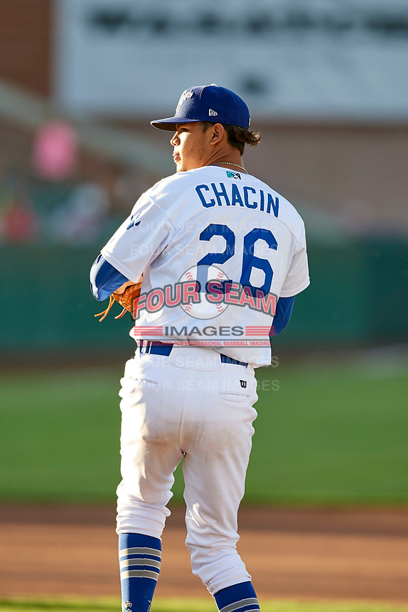 Ogden Raptors starting pitcher Jose Chacin (26) delivers a pitch to the plate against the Grand Junction Rockies at Lindquist Field on June 25, 2018 in Ogden, Utah. The Raptors defeated the Rockies 5-3. (Stephen Smith/Four Seam Images)