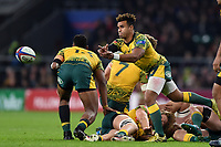 Will Genia of Australia passes the ball. Quilter International match between England and Australia on November 24, 2018 at Twickenham Stadium in London, England. Photo by: Patrick Khachfe / Onside Images